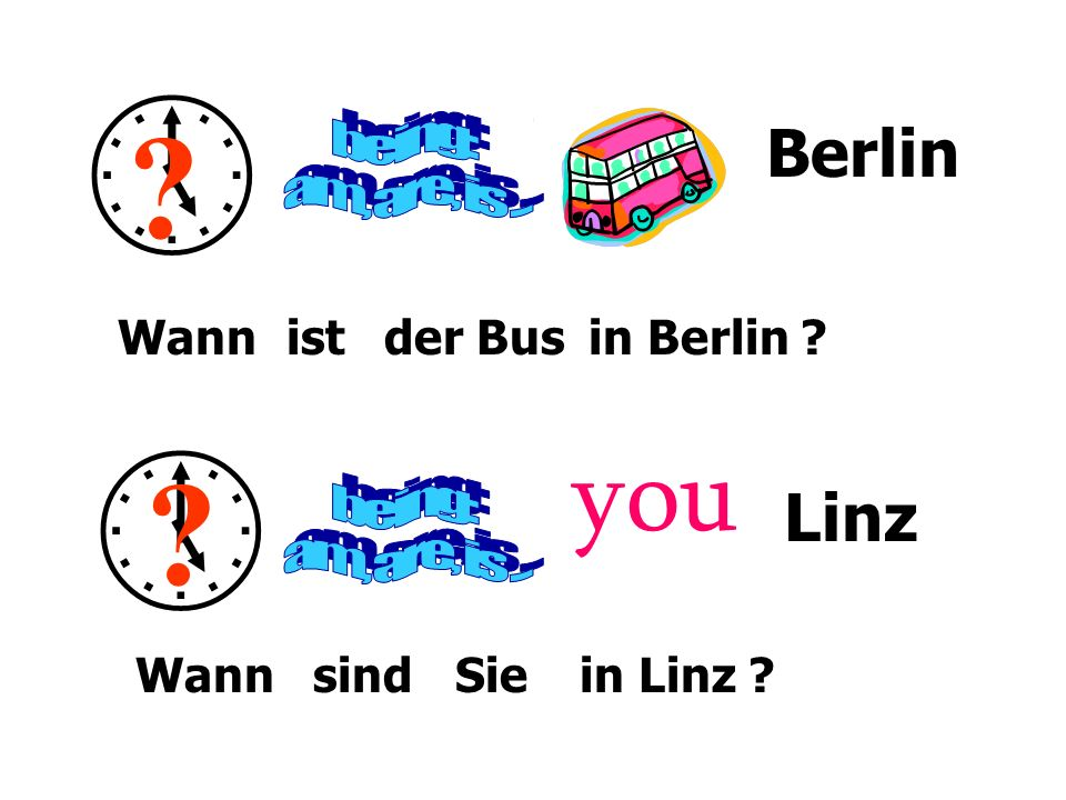   you Berlin Linz being: am, are, is ... being: am, are, is ...