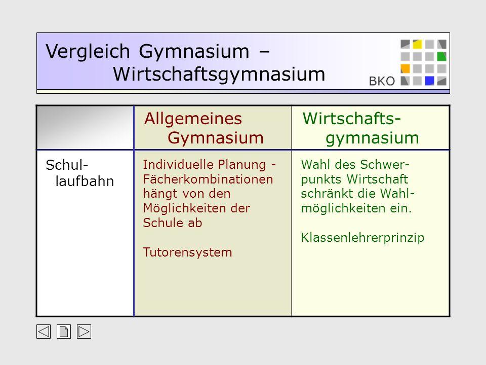 Schul- laufbahn. Individuelle Planung - Fächerkombinationen hängt von den Möglichkeiten der Schule ab.