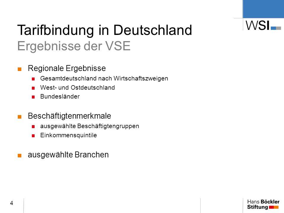 Tarifbindung in Deutschland Ergebnisse der VSE