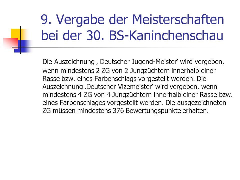 9. Vergabe der Meisterschaften bei der 30. BS-Kaninchenschau