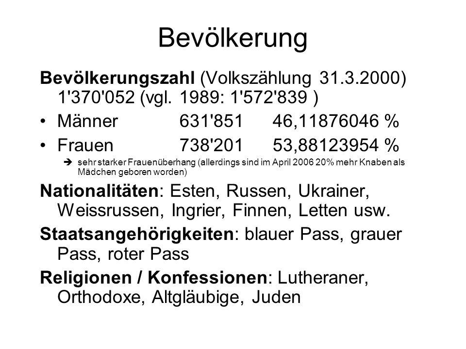 Bevölkerung Bevölkerungszahl (Volkszählung 31.3.2000) 1 370 052 (vgl. 1989: 1 572 839 ) Männer 631 851 46,11876046 %