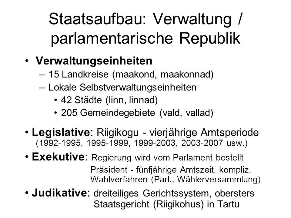 Staatsaufbau: Verwaltung / parlamentarische Republik