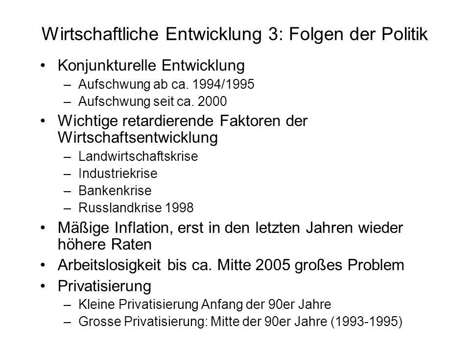 Wirtschaftliche Entwicklung 3: Folgen der Politik