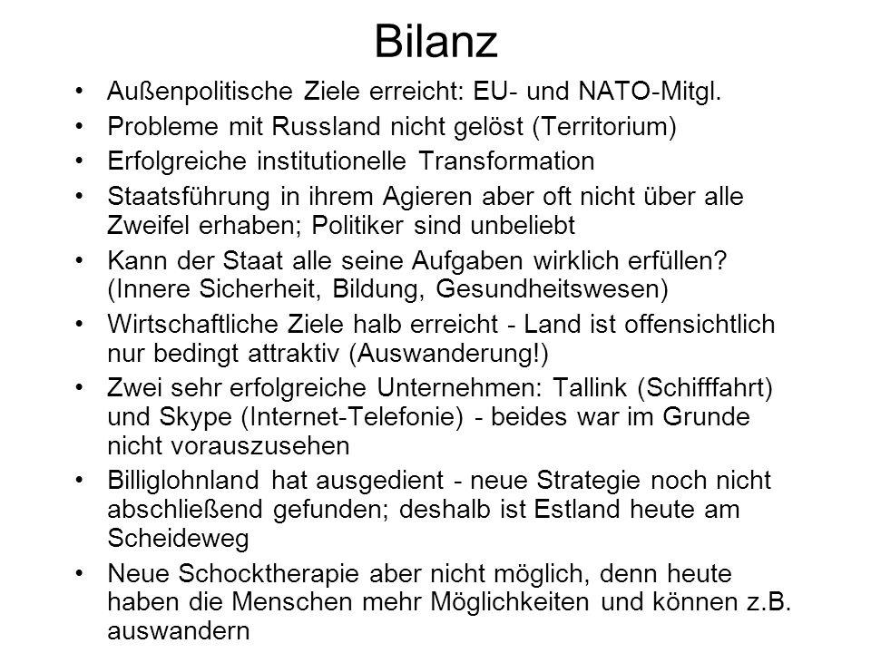 Bilanz Außenpolitische Ziele erreicht: EU- und NATO-Mitgl.