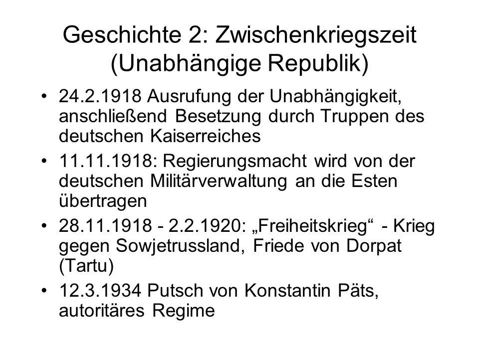 Geschichte 2: Zwischenkriegszeit (Unabhängige Republik)