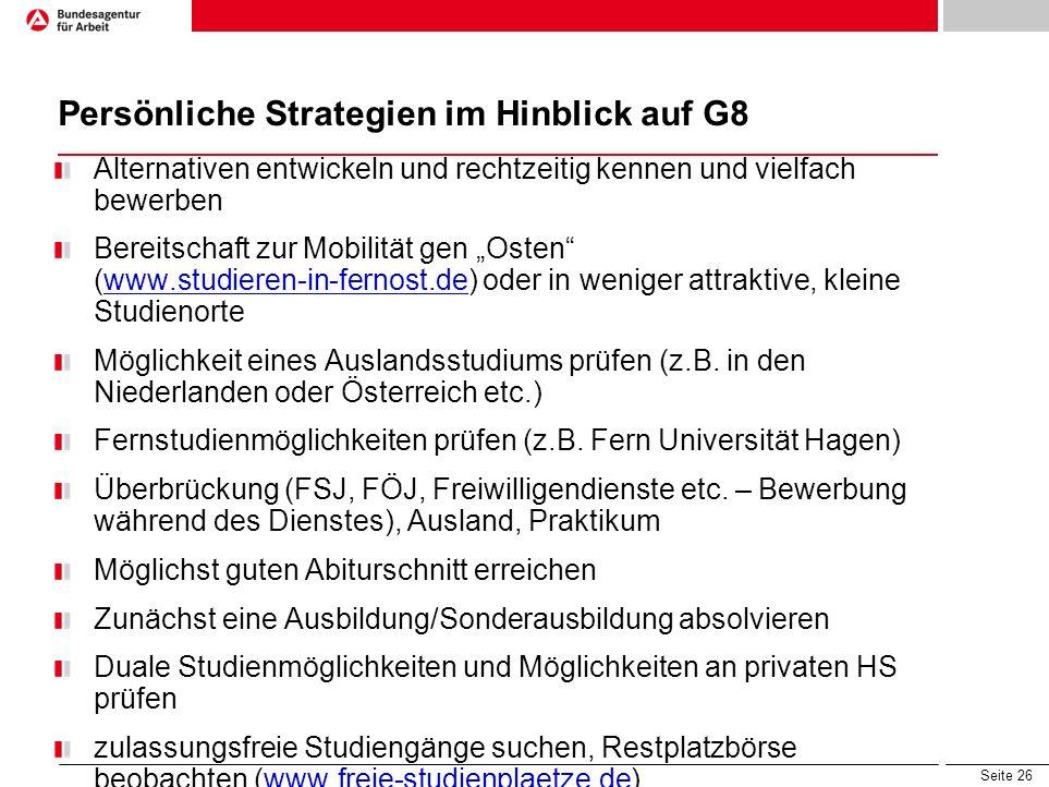 Persönliche Strategien im Hinblick auf G8