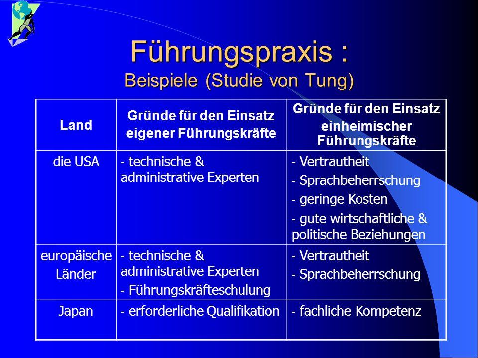 Führungspraxis : Beispiele (Studie von Tung)