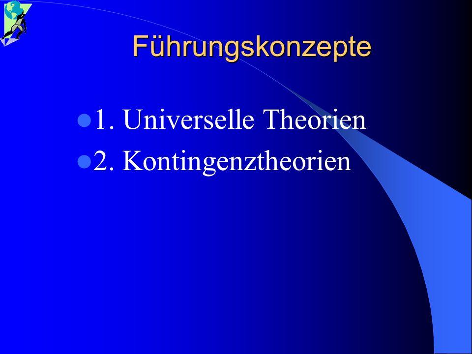 Führungskonzepte 1. Universelle Theorien 2. Kontingenztheorien