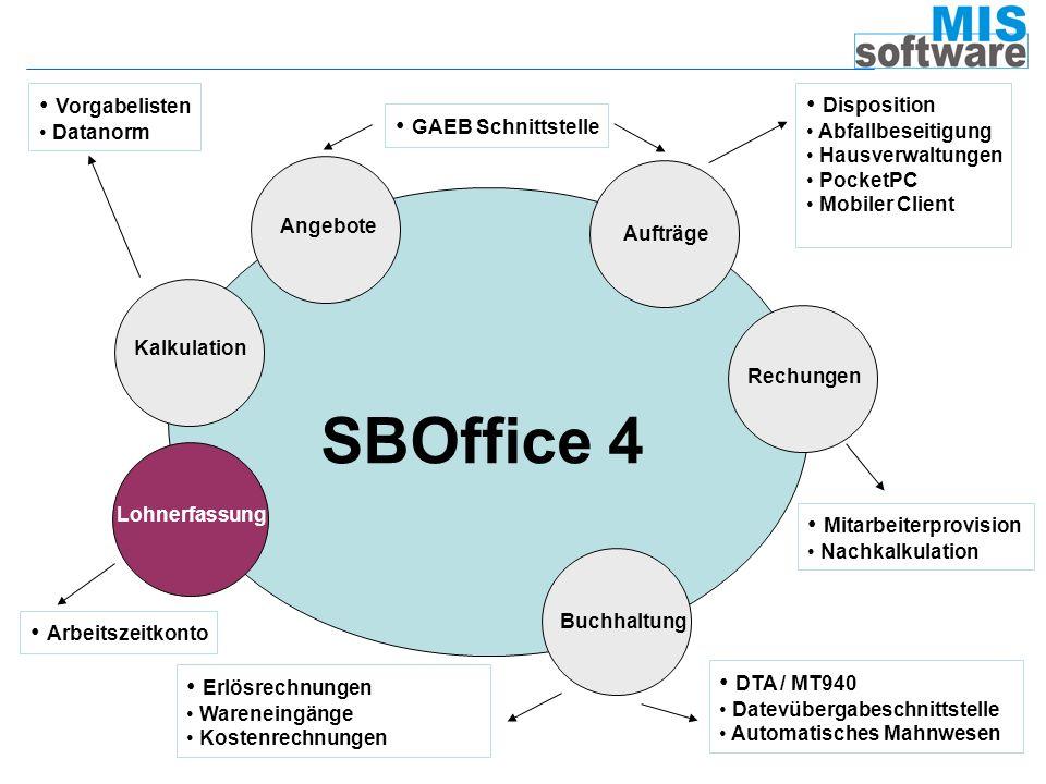 SBOffice 4 Vorgabelisten Disposition GAEB Schnittstelle