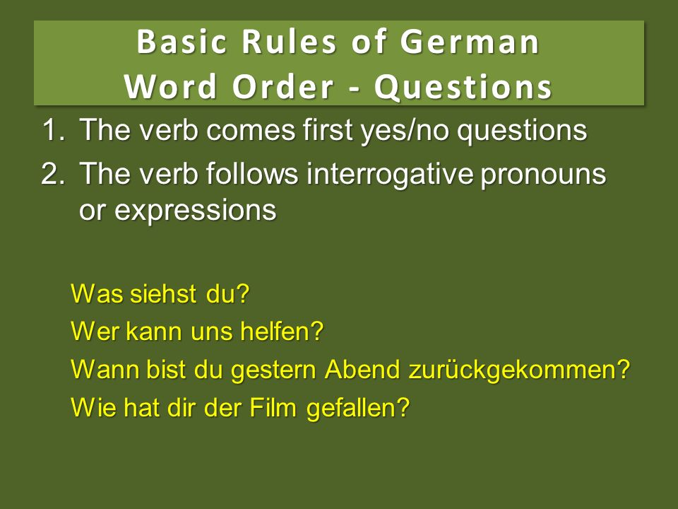 Basic Rules of German Word Order - Questions