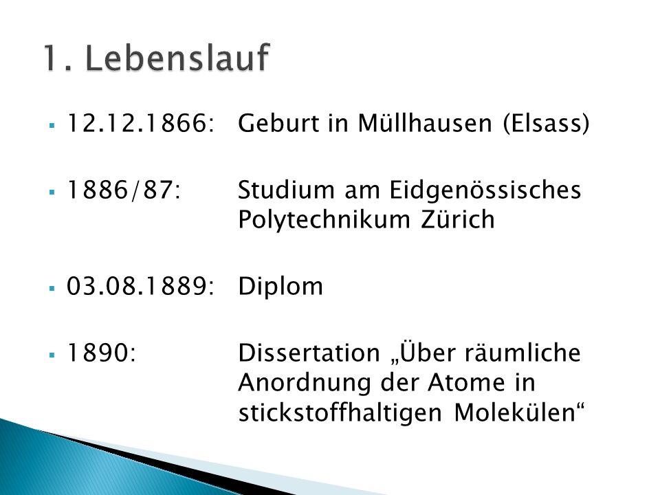 1. Lebenslauf 12.12.1866: Geburt in Müllhausen (Elsass)