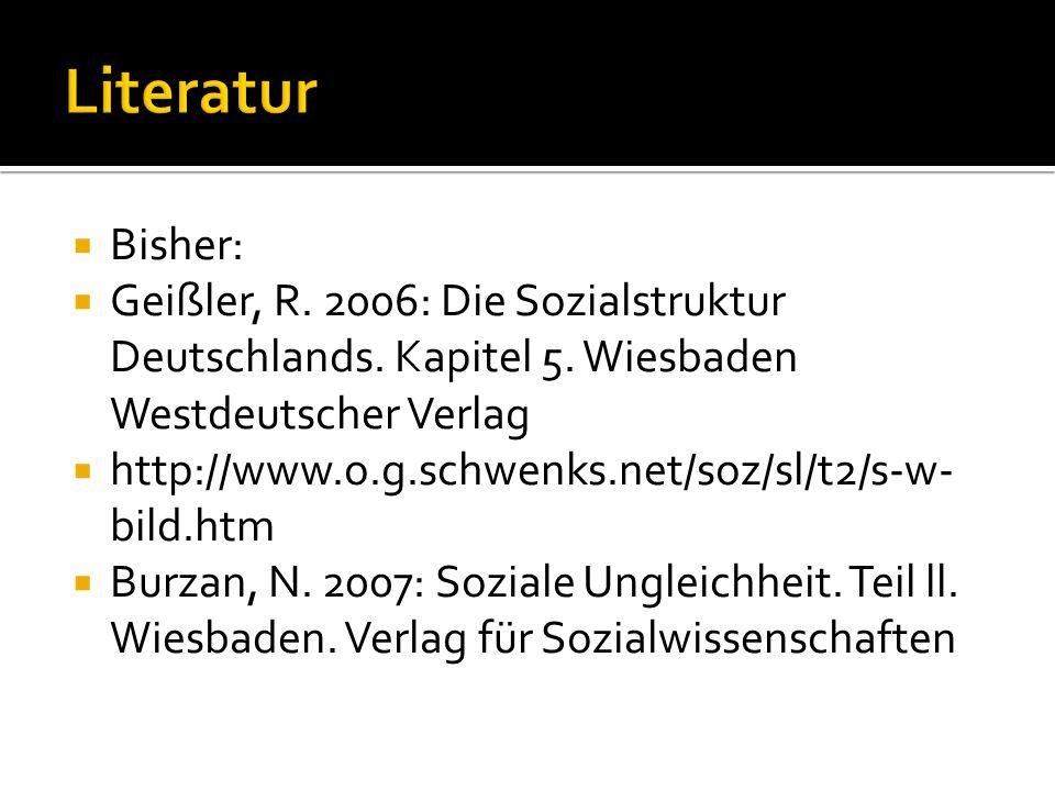 Literatur Bisher: Geißler, R. 2006: Die Sozialstruktur Deutschlands. Kapitel 5. Wiesbaden Westdeutscher Verlag.