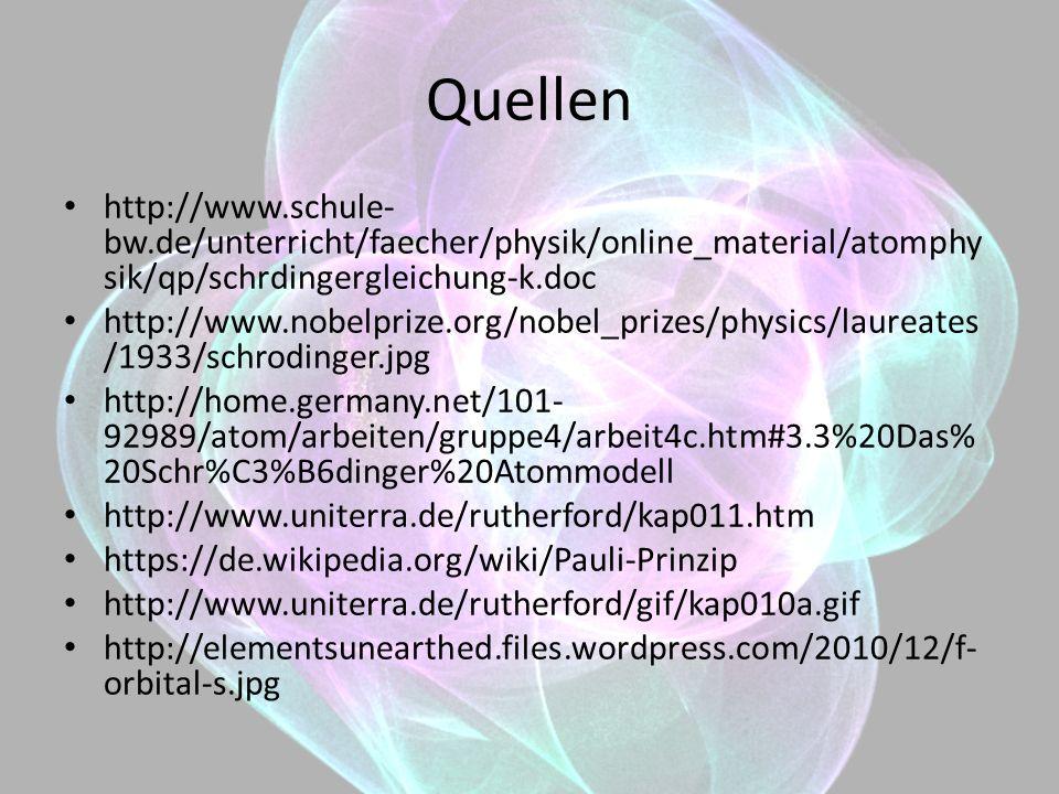 Quellen http://www.schule-bw.de/unterricht/faecher/physik/online_material/atomphysik/qp/schrdingergleichung-k.doc.