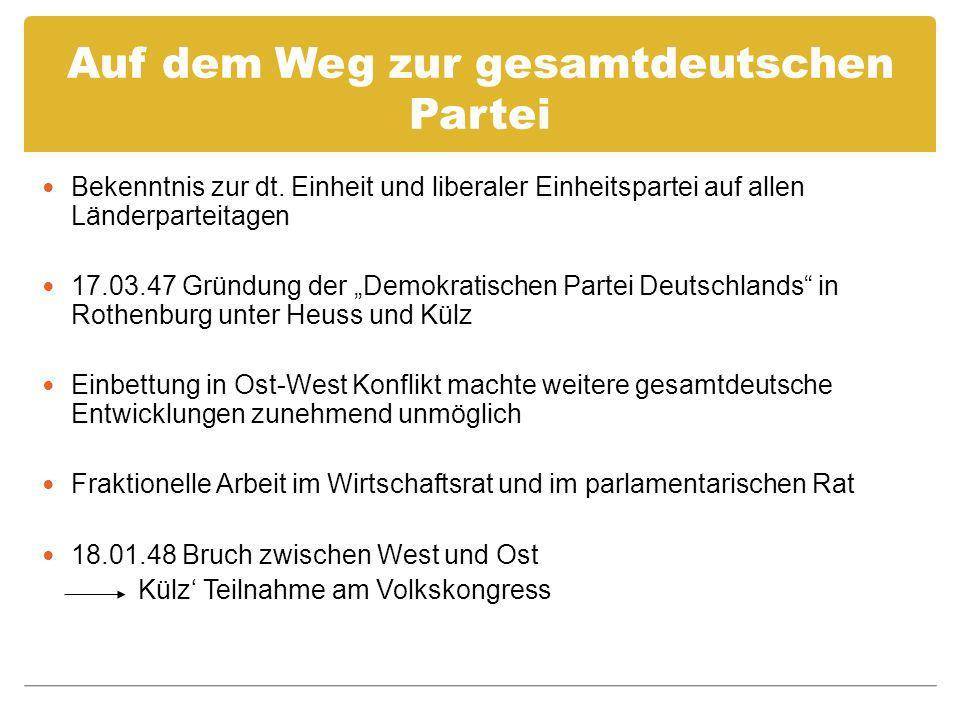 Auf dem Weg zur gesamtdeutschen Partei