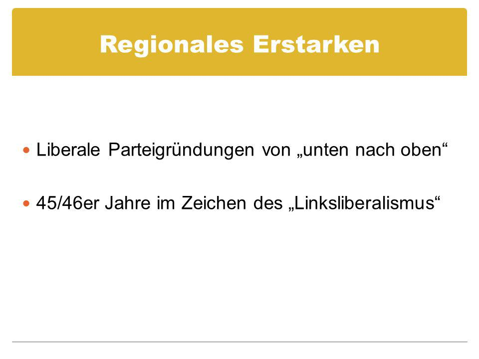 """Regionales Erstarken Liberale Parteigründungen von """"unten nach oben"""