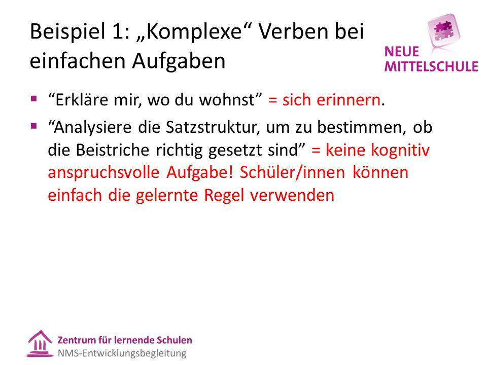 """Beispiel 1: """"Komplexe Verben bei einfachen Aufgaben"""