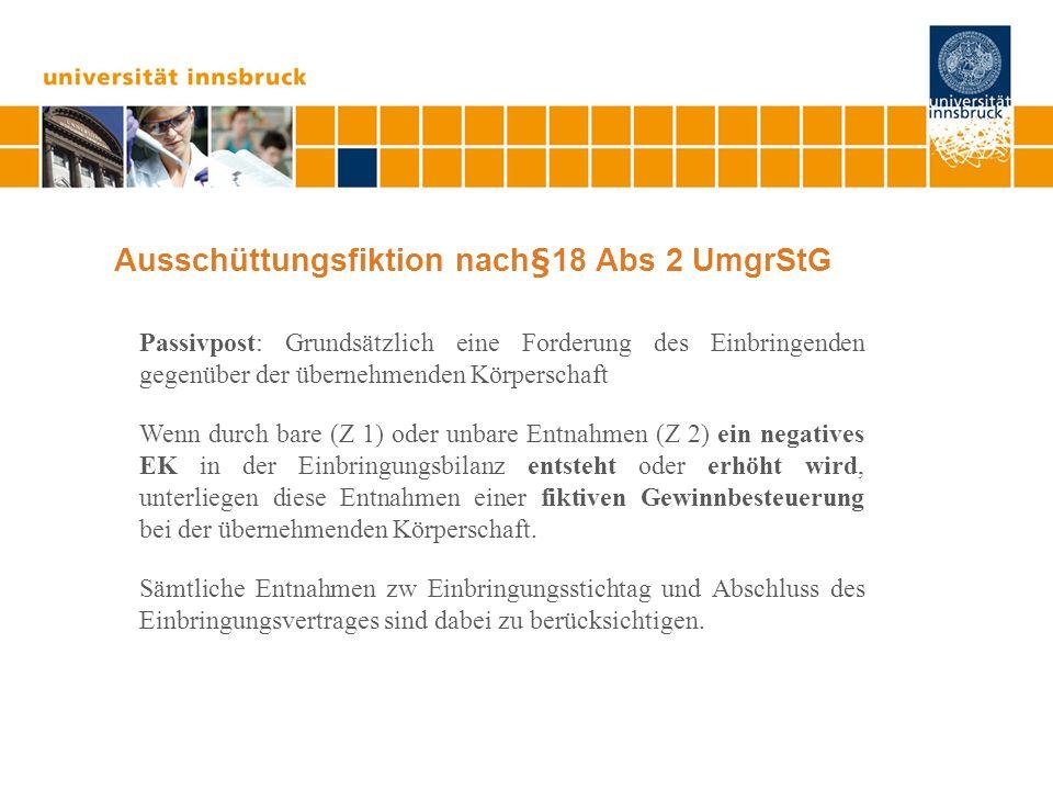 Ausschüttungsfiktion nach§18 Abs 2 UmgrStG