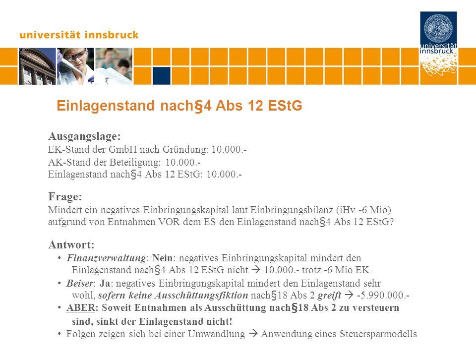 Einlagenstand nach§4 Abs 12 EStG