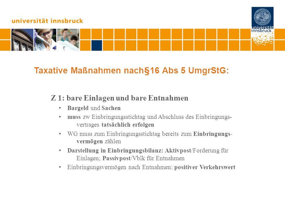Taxative Maßnahmen nach§16 Abs 5 UmgrStG: