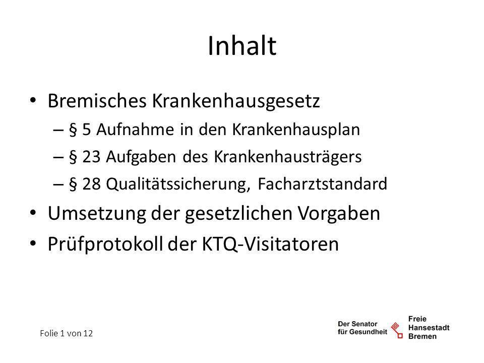 Inhalt Bremisches Krankenhausgesetz