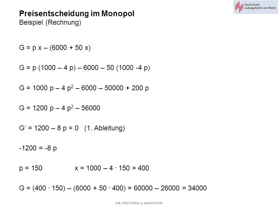 Preisentscheidung im Monopol Beispiel (Rechnung)