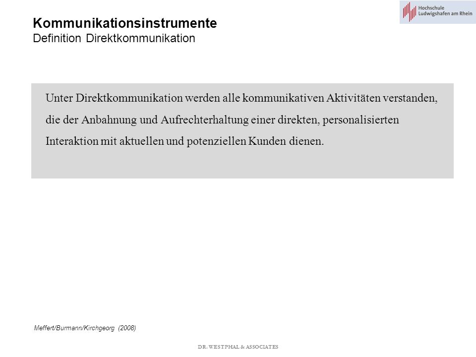 Kommunikationsinstrumente Definition Direktkommunikation