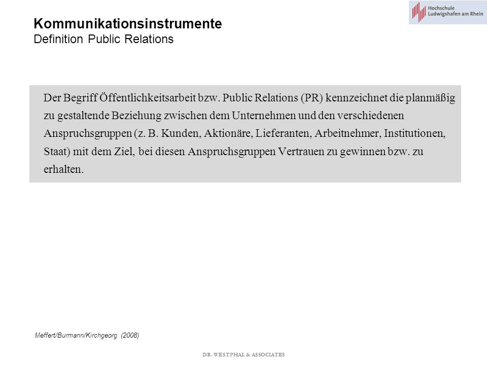 Kommunikationsinstrumente Definition Public Relations