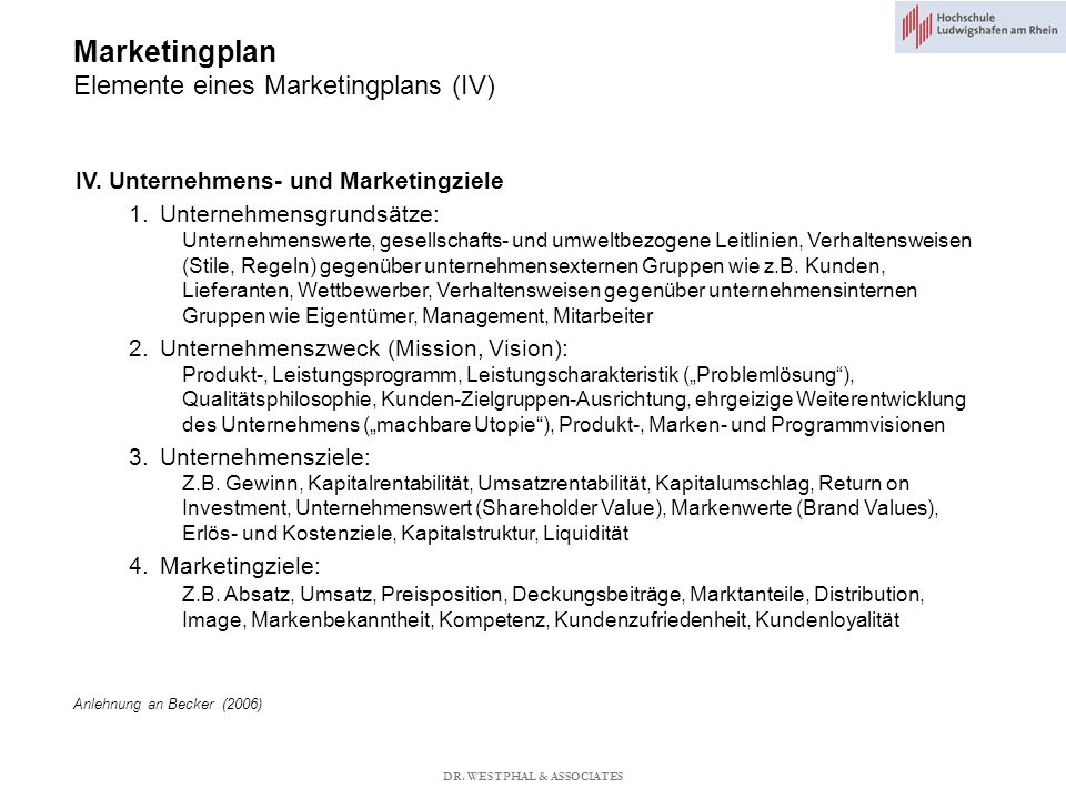 Marketingplan Elemente eines Marketingplans (IV)