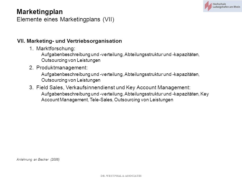 Marketingplan Elemente eines Marketingplans (VII)