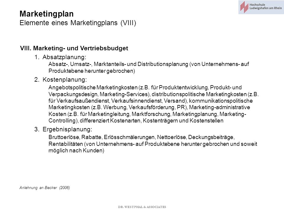 Marketingplan Elemente eines Marketingplans (VIII)