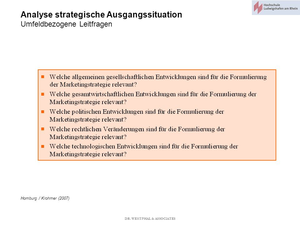 Analyse strategische Ausgangssituation Umfeldbezogene Leitfragen