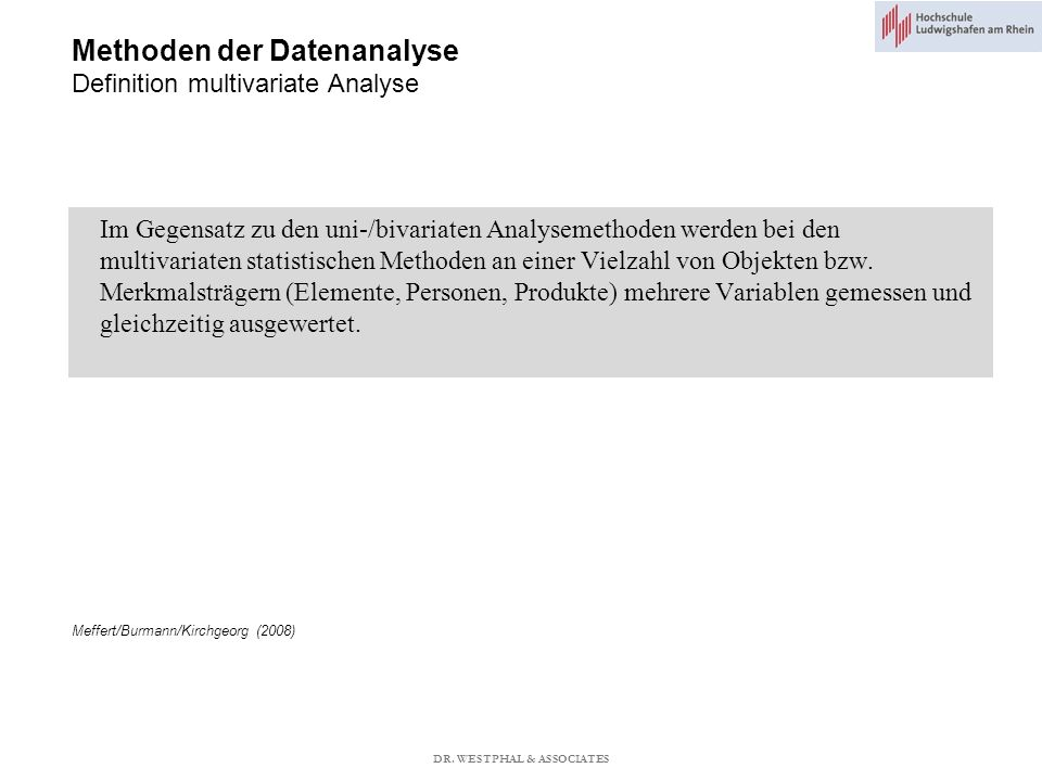 Methoden der Datenanalyse Definition multivariate Analyse