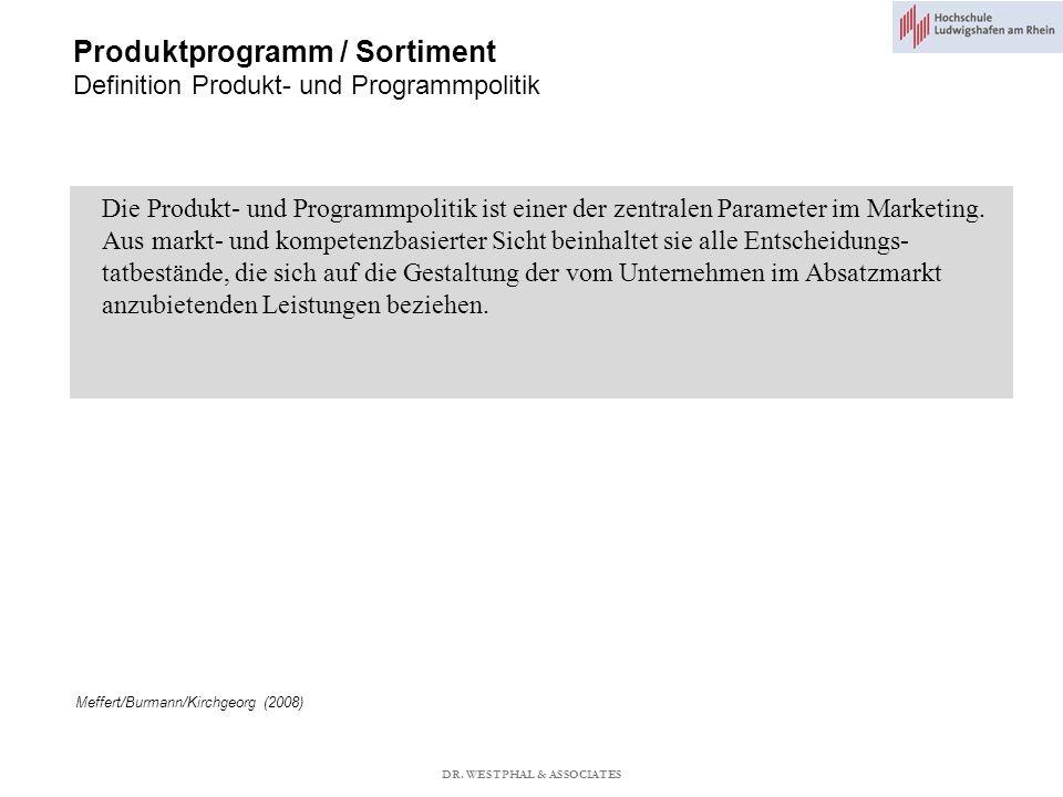 Produktprogramm / Sortiment Definition Produkt- und Programmpolitik
