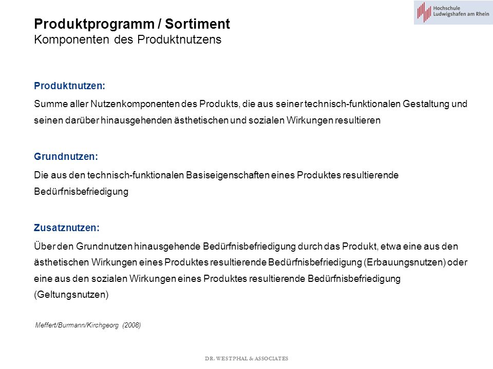 Produktprogramm / Sortiment Komponenten des Produktnutzens