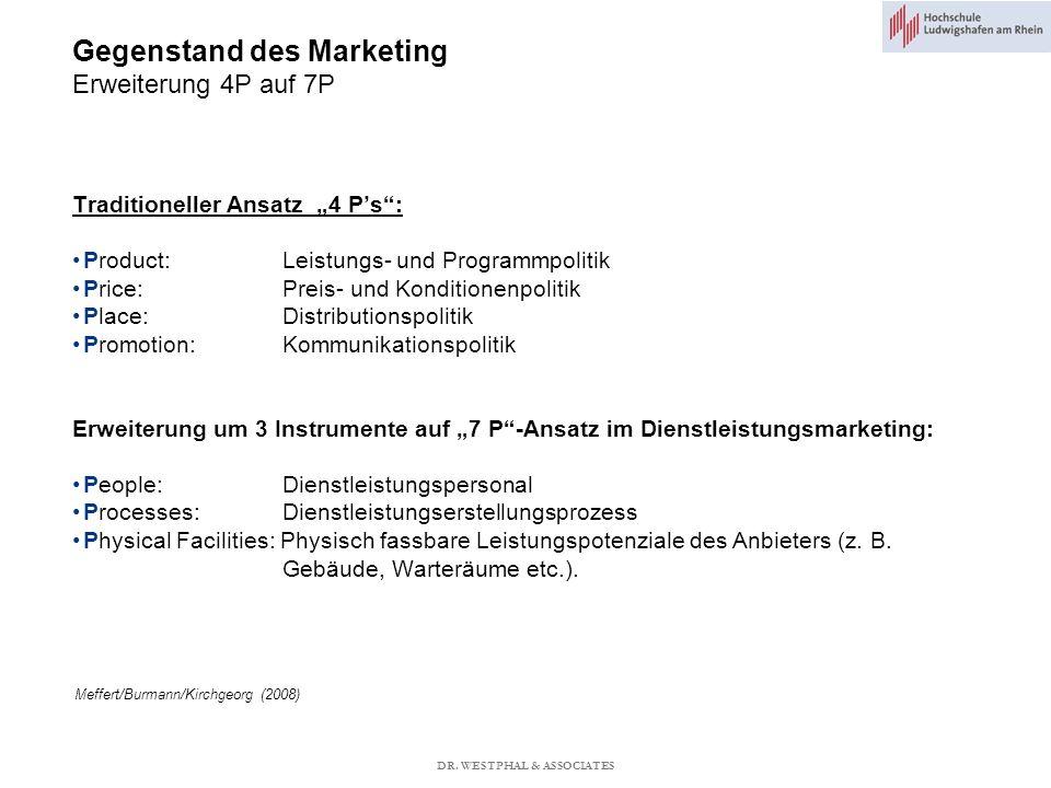 Gegenstand des Marketing Erweiterung 4P auf 7P