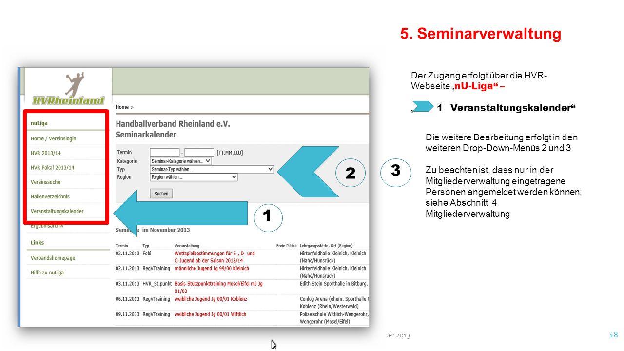 """5. Seminarverwaltung Der Zugang erfolgt über die HVR-Webseite """"nU-Liga – """" 1 Veranstaltungskalender"""