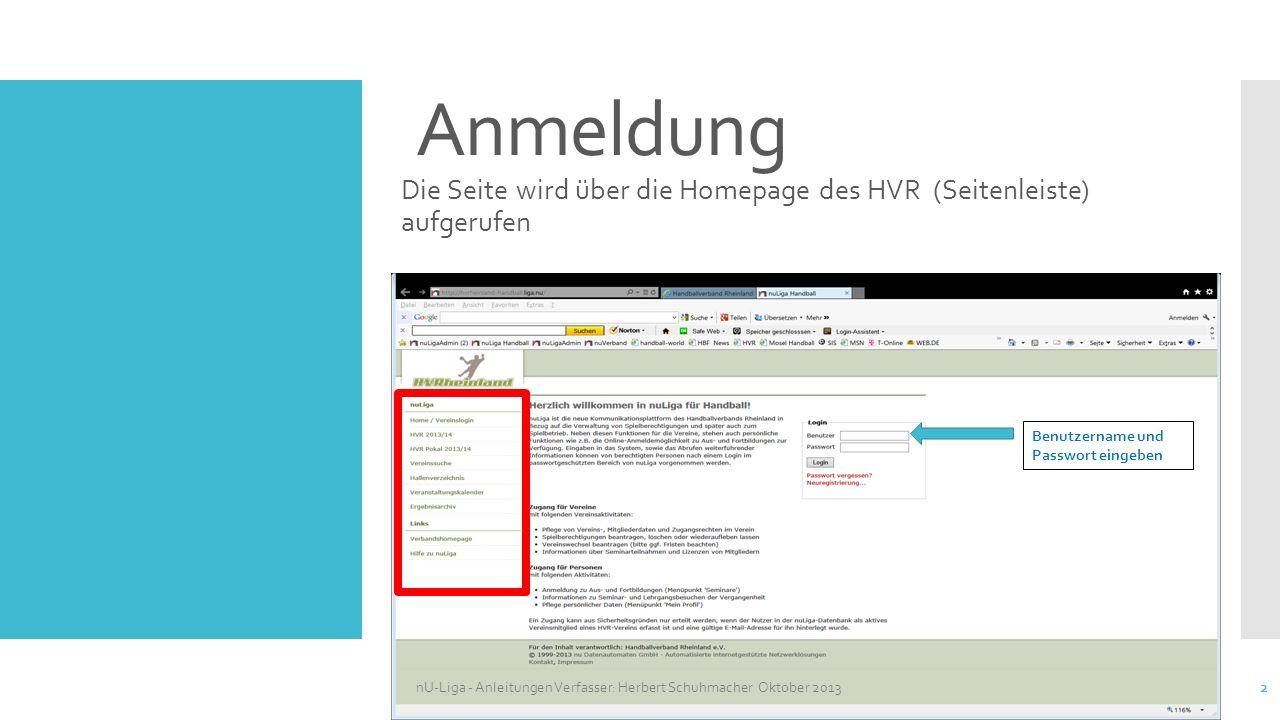 Handballverband Rheinland - Anleitungen nU-Liga - Vereine - Spielleiter