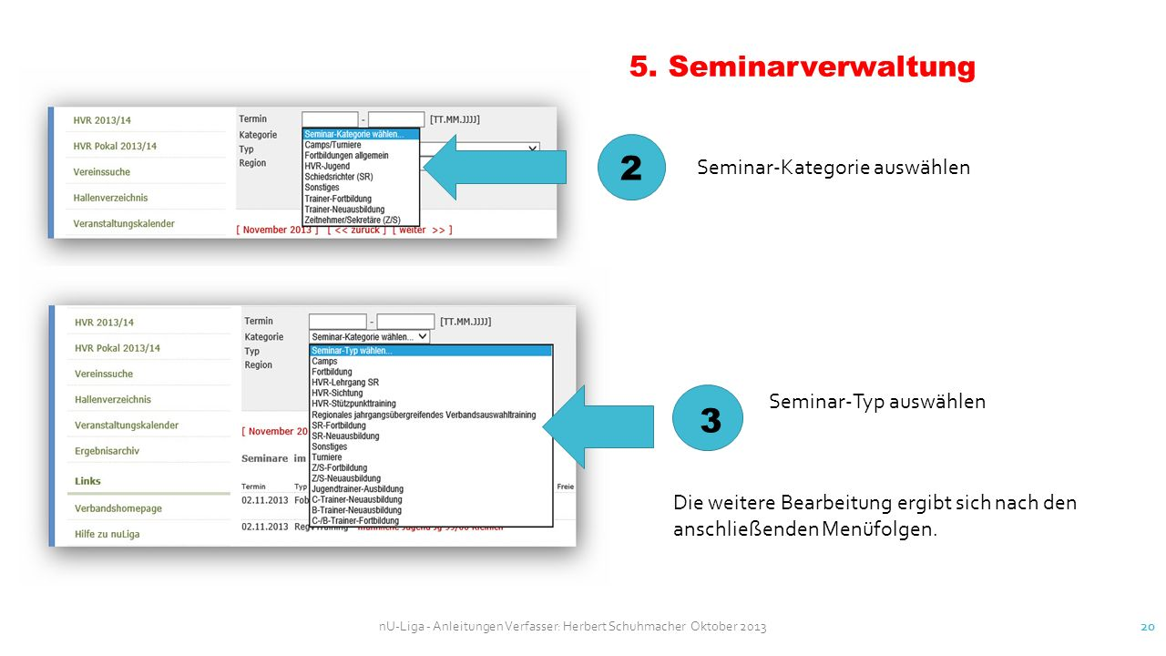 2 3 5. Seminarverwaltung Seminar-Kategorie auswählen