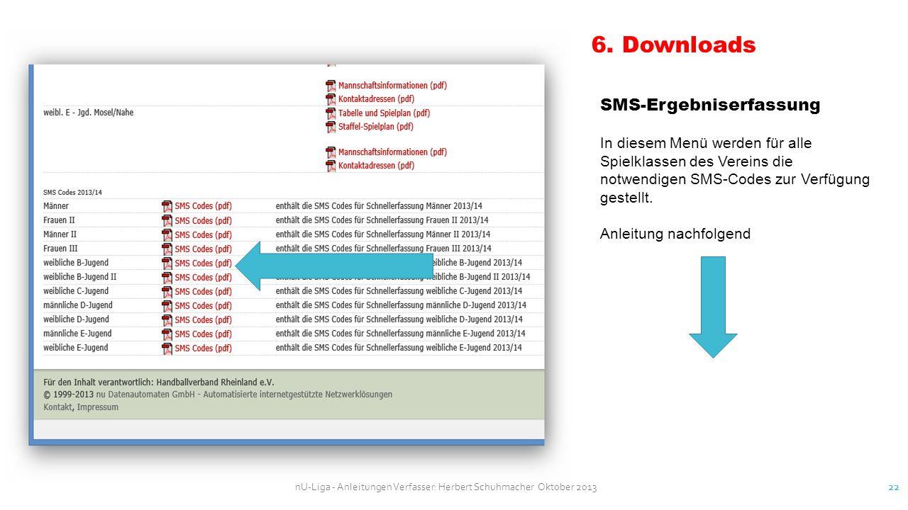 6. Downloads SMS-Ergebniserfassung