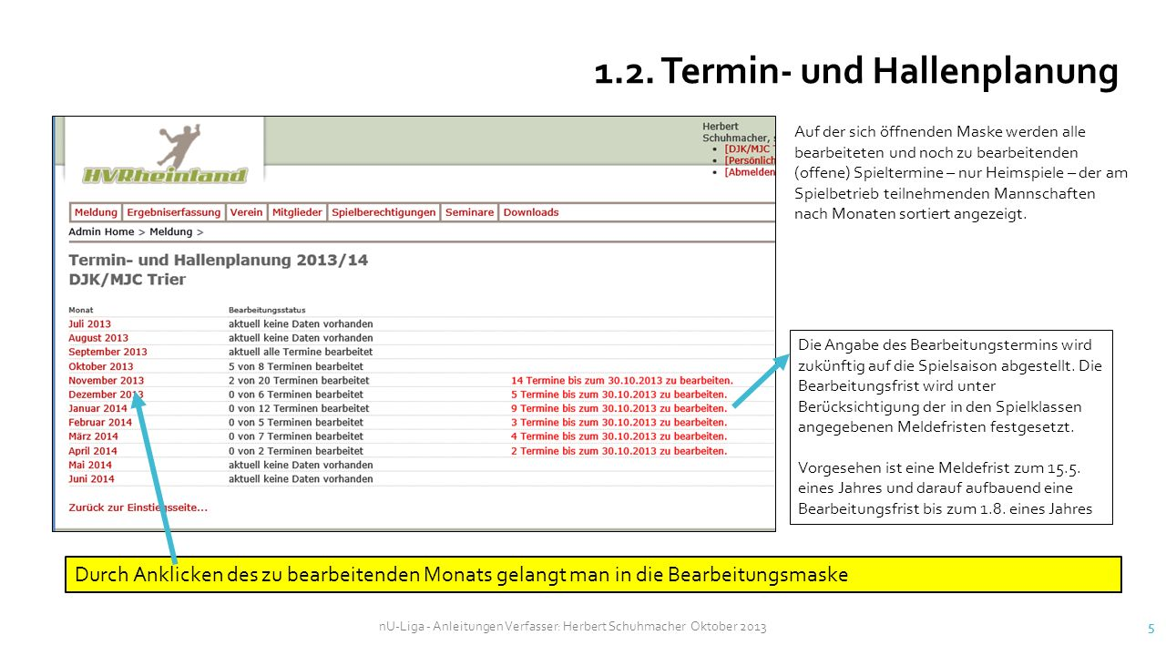1.2. Termin- und Hallenplanung