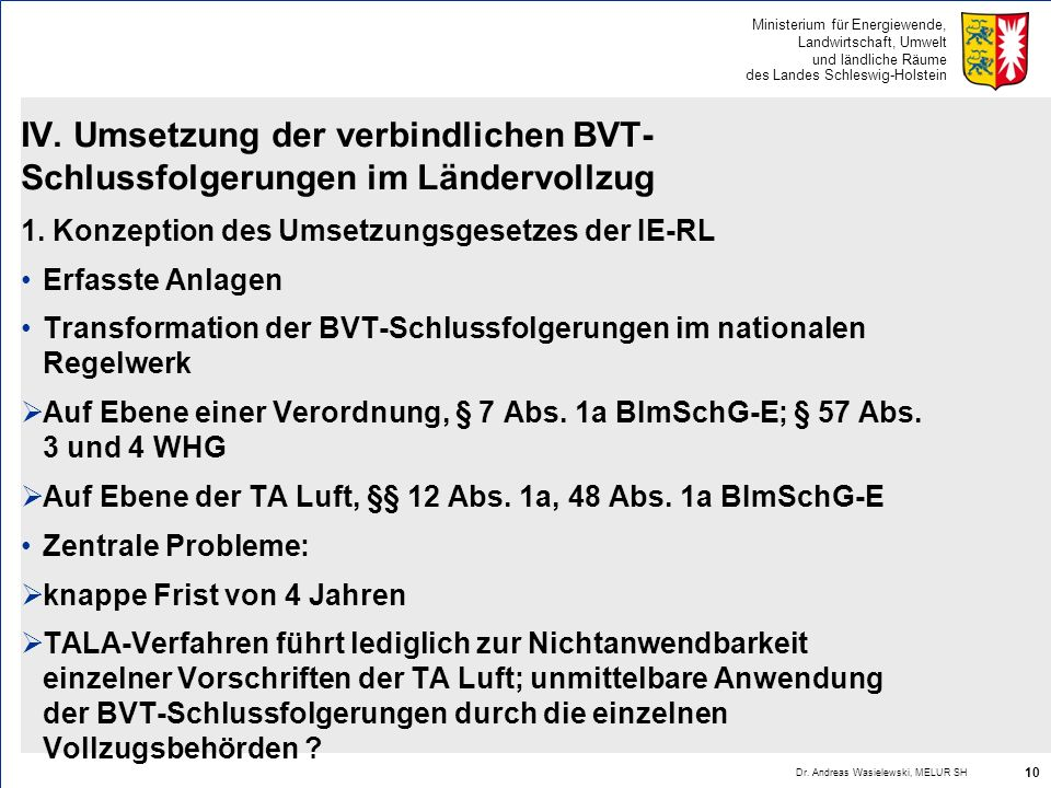 IV. Umsetzung der verbindlichen BVT-Schlussfolgerungen im Ländervollzug