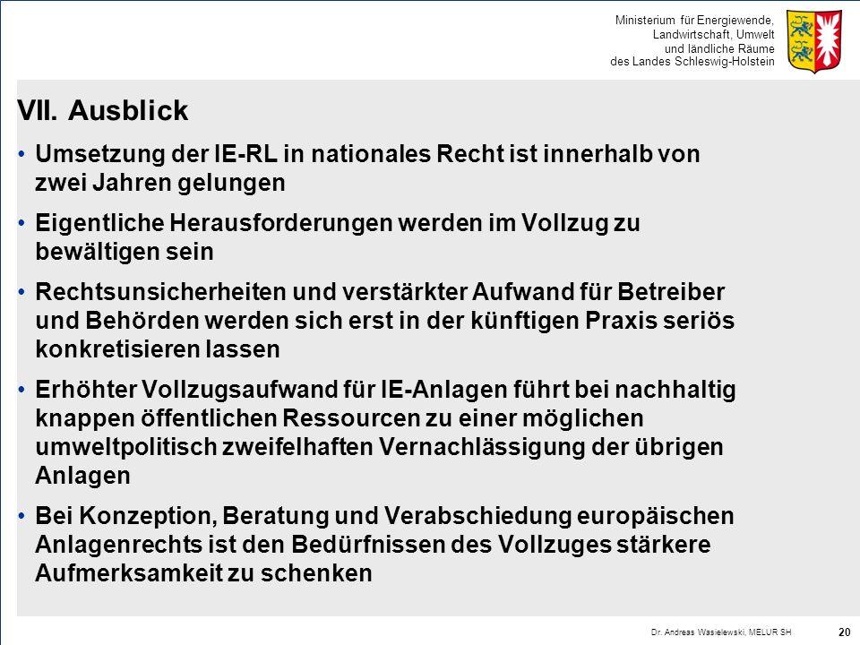 VII. Ausblick Umsetzung der IE-RL in nationales Recht ist innerhalb von zwei Jahren gelungen.