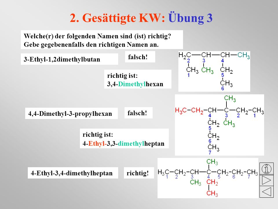 2. Gesättigte KW: Übung 3 Welche(r) der folgenden Namen sind (ist) richtig Gebe gegebenenfalls den richtigen Namen an.