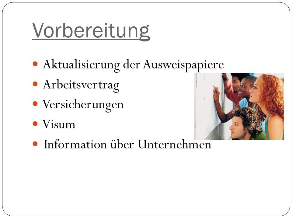 Vorbereitung Aktualisierung der Ausweispapiere Arbeitsvertrag