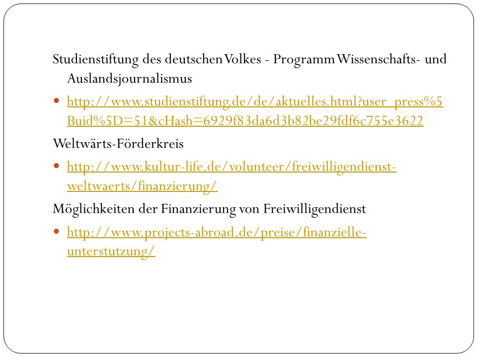 Studienstiftung des deutschen Volkes - Programm Wissenschafts- und Auslandsjournalismus