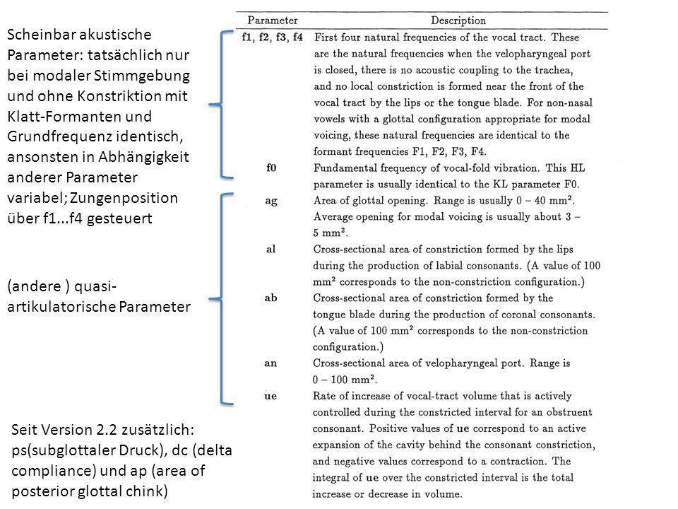 Scheinbar akustische Parameter: tatsächlich nur bei modaler Stimmgebung und ohne Konstriktion mit Klatt-Formanten und Grundfrequenz identisch, ansonsten in Abhängigkeit anderer Parameter variabel; Zungenposition über f1...f4 gesteuert