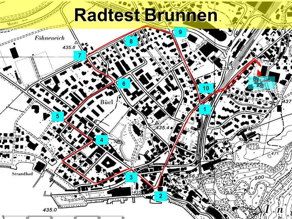 Radtest Brunnen 9 8 7 Start und Ziel 6 10 1 5 4 3 2