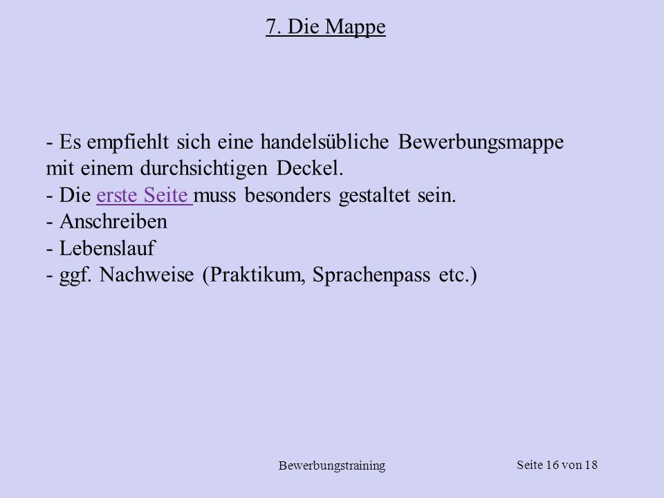 7. Die Mappe