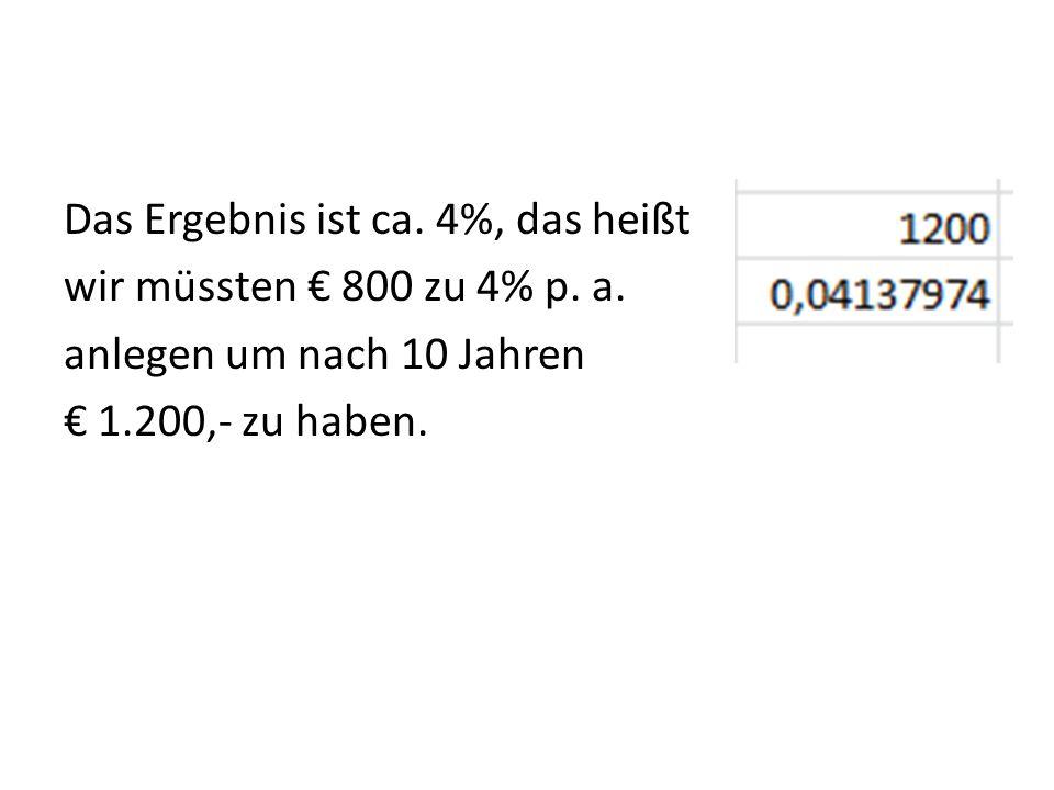 Das Ergebnis ist ca. 4%, das heißt wir müssten € 800 zu 4% p. a