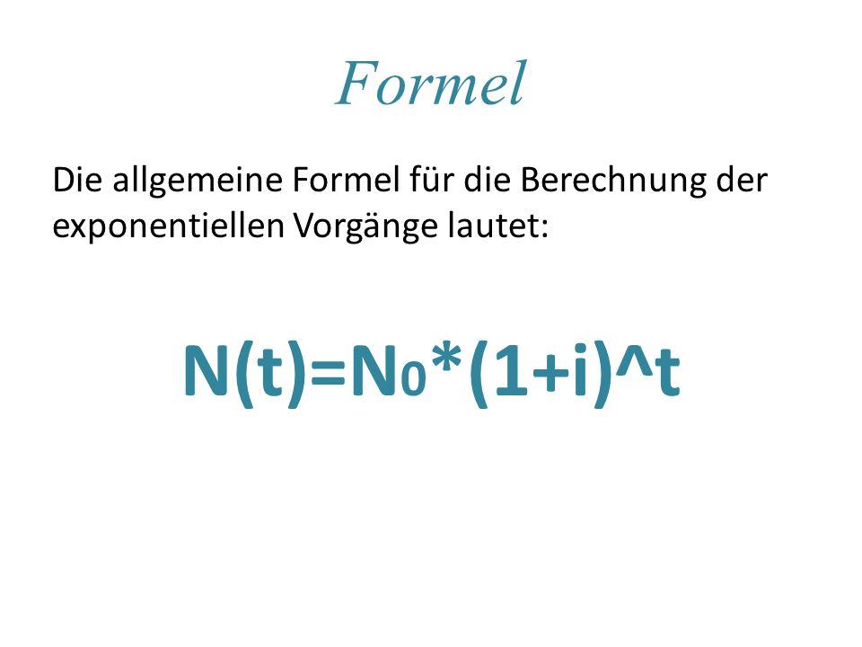 Formel Die allgemeine Formel für die Berechnung der exponentiellen Vorgänge lautet: N(t)=N0*(1+i)^t